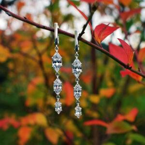 Długie srebrne kolczyki z cyrkoniami okazjonalne eleganckie na ślub wesele